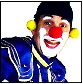 Big Ben in clown make up